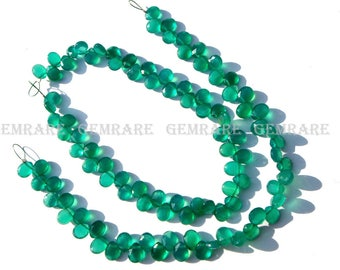 Green Onyx Faceted Cut Pear, 5x6.50 to 6x7 mm, 18 cm, Quality AAA, 49 pieces, GR-160/1, Semiprecious Gemstone beads, Craft Supplies
