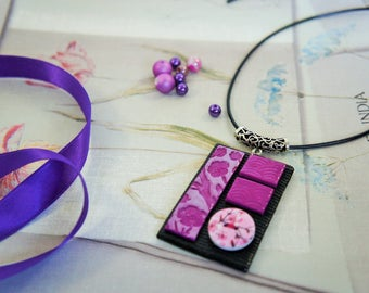 Necklace square pendant Japanese style Asian black purple and pink with button cherry blossom wood