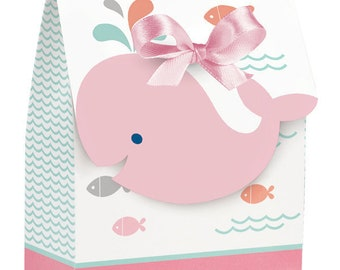 12 CT Sweet Baby Pink Whale Favor Boxes/ Baby Girl Whale Baby Shower Favor Bags/ Whale Party Favors/ Whale Baby Shower