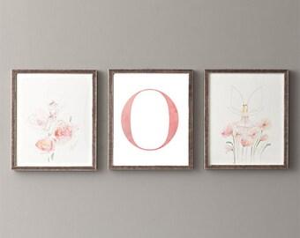Letter O | Nursery Print | Nursery Art | Alphabet | Instant Download | Digital Print | Wall Art | Baby Girl | Initials | Pink | Watercolor