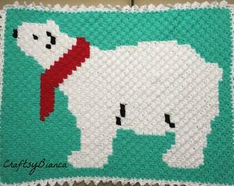 Polar Bear Crochet Blanket, C2C Crochet Blanket, Baby Afghan, Pram Blanket, Baby Shower Gift, Nursery