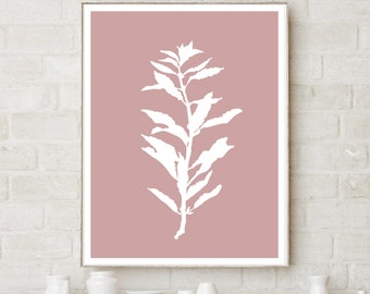 Plant Silhouette on Neutral Pink Background - Printable Artwork - Download and Print it Yourself - Watercolor Wash