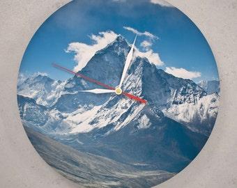 Mountains clock, Vinyl record wall clock, Mount Everest, Himalayas art, Travel clock, Mountain wall decor, Blue clock, Mountain print 40