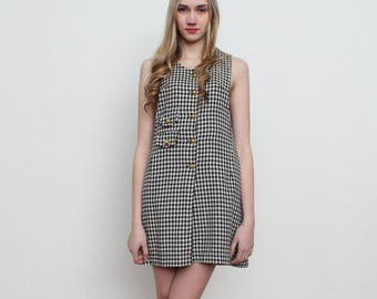Vintage Black White Checkered Mini Dress/ Pinafore/ Size 2