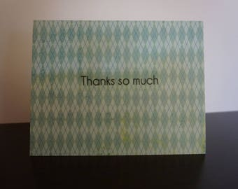 Thanks So Much Card, Blue Argyle