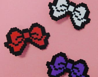Gothic Lolita Pixel Bow Clips - (3 Colors)