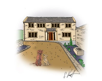 House with Two Pets: Hand Drawn Homes