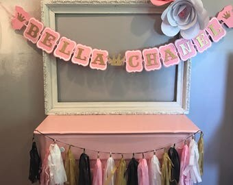 Personalized baby Shower banner.  Pink and Gold.