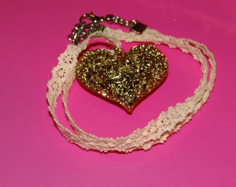 Sparkling Golden Heart with Lace Necklace - 17.5in