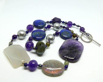 Hand-strung necklace, semi precious stones, silver toggle, statement necklace, hand knotted, one-of-a-kind