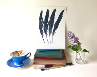 Raven Feathers, Original Watercolor Painting