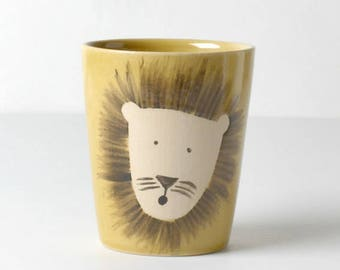 Yellow kids cups lion gifts for children
