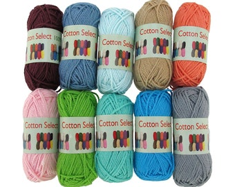 Cotton Select Bonbon Yarn 10 10 g Mini Skeins- Assortment 97 Solid Color