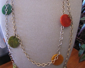 Vintage Multi-Colored Bakelite Disc Necklace
