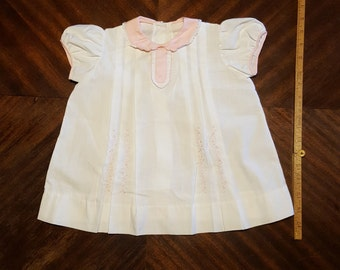 Vintage Baby Doll White and Pink Cotton Dress