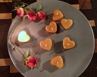 Mini Heart Candle -beeswax