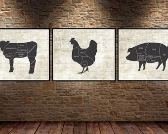 Butcher Cuts. French Country Decor. Farmhouse Decor. Farmhouse Wall Decor. French Country Wall Decor. Dining Room Wall Art.
