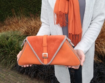 Leather triangular large clutch orange