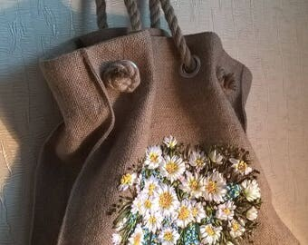 Eco bag_handmade ribbons embroidery_handbag_tote_Fisenko brand