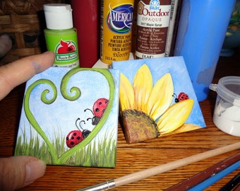 PAIR Hand painted Mini Canvases 'LADYBUG, LADYBUG' with sunflower