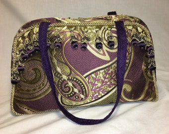 Purple and Gold Paisley Handbag with Trim