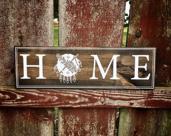 Oklahoma HOME stained wood sign Okie OK State of Oklahoma Flag