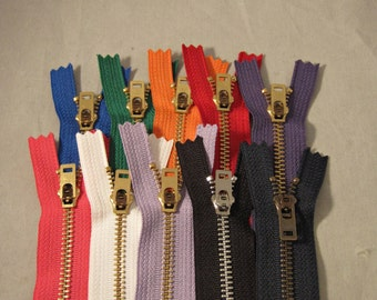 "FIVE (5) 7"" #5 Brass YKK Zipper"