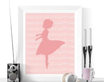 Ballerina Art Printable | Ballet Prints | Ballet Gifts | Girl's Bedroom | Dance Printable | Ballerina Gifts | Ballet Art