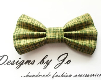 Bow Tie, Mens Bow Tie, Suit Bowtie, Green-Gold Bowtie ,Prom Bow Tie, Wedding Bow Tie, Mens Fashion Accessories, Bowtie, Mens Bowtie, M652
