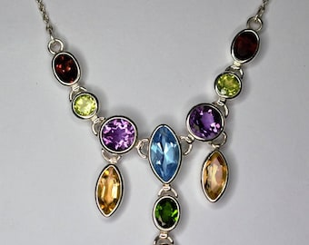 silver necklace 925 seam of the peridot, citrine, Garnet, blue topaz