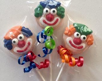 Clown Oreo cookie pops / carnival party favor / chocolate covered Oreo / one dozen (12)