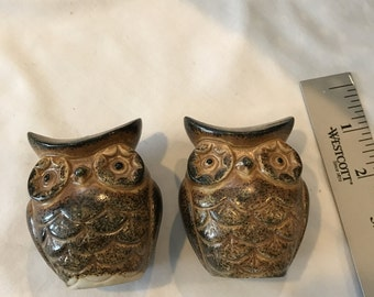 Vintage Ceramic Owl Salt and Pepper