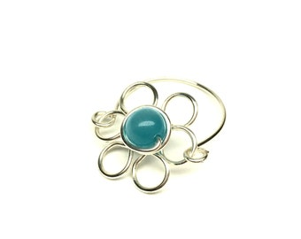 turquoise cats eye wire daisy ring