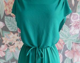 Beauiful Turqoise/teal Flowy Vintage Dress