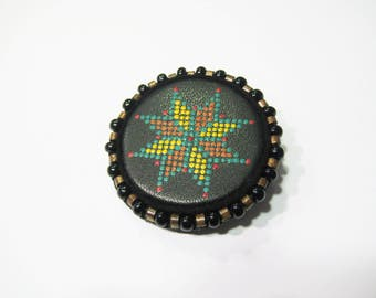 Ethnic colorful brooch Leather painted brooch Embroidered brooch wooden brooch  Ethnic brooch Boho brooch Boho jewelry Circle brooch Jewelry
