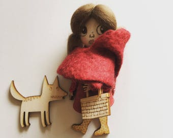 Bonbon-baby doll with brooch-Doll little Red Riding Hood