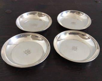 4 Sterling Silver Coasters / Birks / 925 / Wine / Barware / Retro / Antique