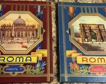 1940's Roma Parte 1 and 2 Cecami fold out B&W photo books, 30 pictures per book