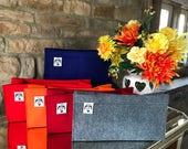Handbag Liner Organiser Felt BAYSWATER in Wine Blue Orange Grey Red Handmade in England by Handbag Angels