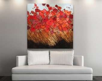 Original Poppy Painting #0093 - Poppies - Oil, Watercolor, Charcoal, painting - 4' X 4'