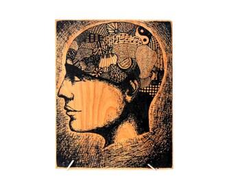 Thinking Cap original artwork wood print