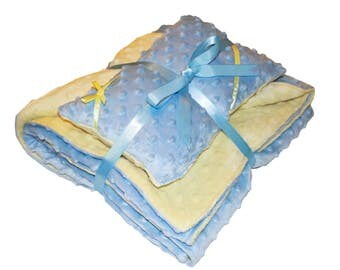 Boy's Reversible Baby Blanket and Pillow