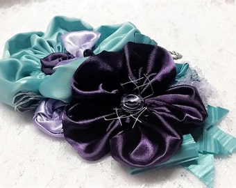 Turquoise, Lavender, and Purple Flower Pin, Fabric Flower Corsage, Satin Flower Accessory