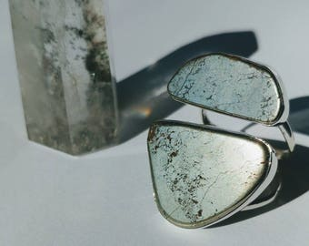 Sterling Silver Freeform Double Pyrite Ring
