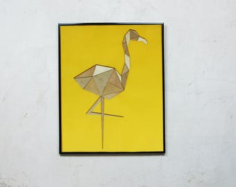 Patchwork wood Flamingo