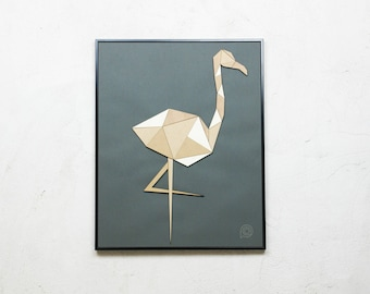 Patchwork Flamingo rosewood table wood, cutting wood photo frame, kids decor, Scandinavian style, puzzle, tropical, animals