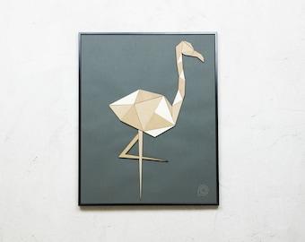 Patchwork wood Flamingo