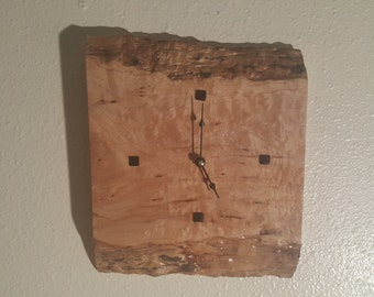 Live edge quilted maple clock