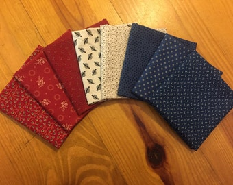 Red, White and Blue Reproduction Fat Quarter Bundle