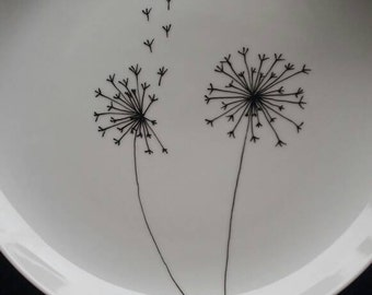 Handpainted plate - dandelion. FREE SHIPPING